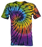 Tie Dye Contrast Rainbow / Black Spiral T-Shirt L