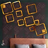 BEST DECOR 12 Square Golden(Pack Of 12)Acrylic Sticker, 3D Acrylic Sticker, 3D Mirror, 3D Acrylic Wall Sticker, 3D Acrylic Stickers For Wall, 3D Acrylic Mirror Stickers For Living Room, Bedroom, Kids Room, 3D Acrylic Mural For Home & Offices Dé