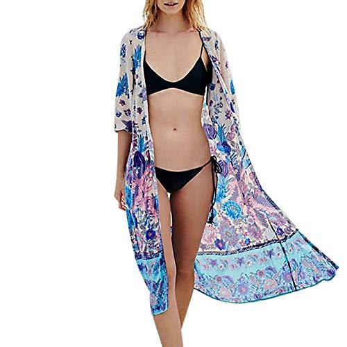 Damen 3/4 Arm Sommer Boho Strand Kimono Florale Tops Cardigan Shawl Bluse Beachwear Bikini Cover up Leichte Jacke Oberteil Casual - Ärmel Achselzucken Jacke