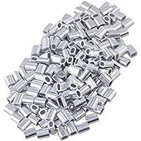 Yibuy - 200 Piezas de mangueras de Aluminio ovaladas con Clip para Cuerda de Alambre de 1 mm