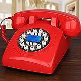 BHXUD Schnurtelefon, Festnetz, Tasten-Garten-Art amerikanisches mechanisches Bell-Hauptbüro-Telefon,Red