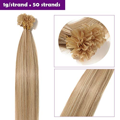 Extension capelli veri cheratina 1 grammo biondi meches 50 ciocche-50g 50cm 100% remy human hair lisci indiani u tip estensioni con cheratina lunghi 20