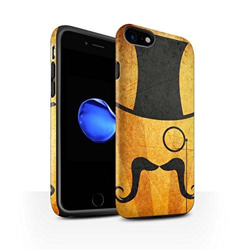 STUFF4 Matte Harten Stoßfest Hülle / Case für Apple iPhone 8 / Schnauzbart Muster / Retro Schnurrbart Kollektion Zylinder/Monokel