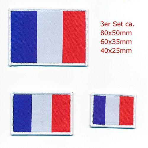 3 Frankreich Flaggen Paris France Flags Lyon Patch Aufnäher Aufbügler Set 0909