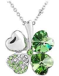 Le Premium® Vier Blatt Klee Halskette mit herzförmigen Swarovski peridot grüne kristalle