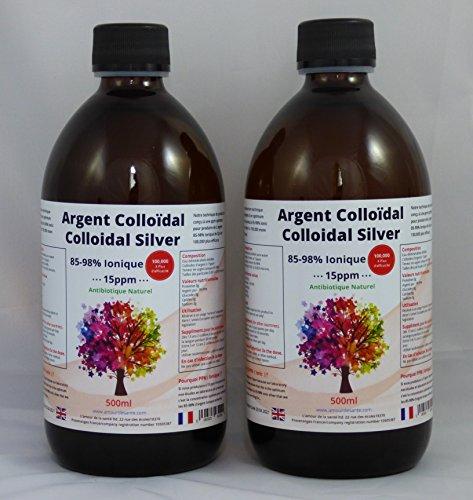 2X Argent Colloïdal (85/98% ionique) 500ml qualité premium. 15ppm. 99.99% d'argent pure. Les flacons utilisés sont en verre brun, cela permet de protéger des rayons UV. 1 litre