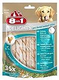 8in1 Delights Pro Dental Twisted Sticks (funktionaler und gesunder Kausnack, hochwertiges gedrehtes Hähnchenfleisch, Mineralien zur effektiven Plaqueentfernung bei Hunden), 35 Stück (190 g Beutel)