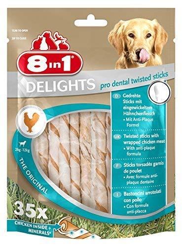 8in1 Delights pro dental Twisted Sticks, gesunder Kausnack zur Zahnpflege, 35 Stück (190 g)