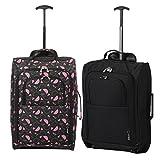 Set von 2 Leichtgewicht Handgepäck Kabinengepäck Flugtasche Koffer Trolley Gepäck (Schwarze Wassermelone + Schwarz)