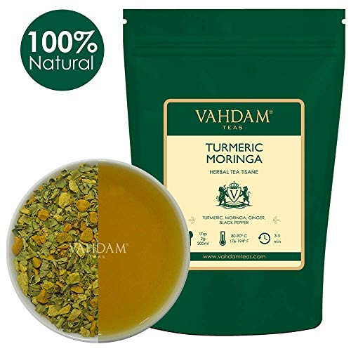 VAHDAM, Turmeric + Moringa SUPERFOOD Blend (100 Cups) | Herbal Tea | India's Ancient Medicine Blend of Turmeric & Garden Fresh Spices, Abundant in Anti-OXIDANTS | Turmeric Tea from India | 200gm