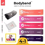 BodyBand Latex Resistance Bands for Exercise (4 in 1 Combo for men and women with Towel, Carry Bag and eBook) - Set of 5