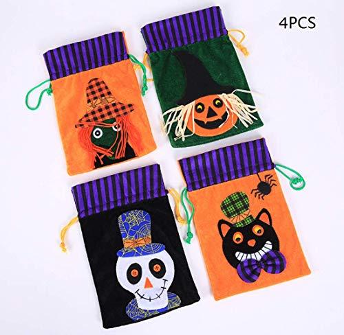 Unbekannt Halloween-Süßigkeiten-Taschen, Haufen Kürbis Beutel, Kindertaschen, Halloween-Dekorationen Und Party Dekorationen, Kinder (4 Stück