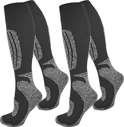 2 Paar normani® Thermo Ski-Socke, atmungsaktiv und schützend Farbe Grau/Schwarz Größe 39/42 (Socken Farbe Hose)