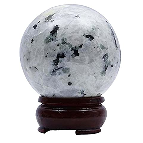 Harmonize Rainbow Moonstone Sphere Ball Stand Balancing Reiki Healing Stone Gift Table Decor