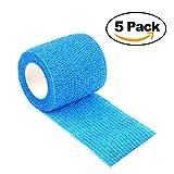 ZYQHY 5cm × 5m (5Packs) Self adhérente cohésif Wrap Bandages Haute Flexibilité Bande élastique Sticky Gaze Bandage de Premiers Secours Medical Health Care pour Sports, Bleu 1, 5cm*5m
