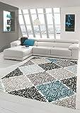 Moderner Teppich Designer Teppich Orientteppich mit Glitzergarn Wohnzimmer Teppich mit Ornamente Meliert in Creme Beige Grau Anthrazit Türkis Größe 120x170 cm