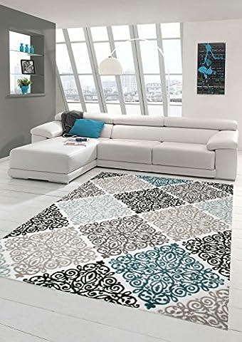 Tapis contemporain design Tapis Oriental avec Glitzergarn salon tapis avec ornements Heather Cream Beige Gris Anthracite Turquoise Größe 160x230 cm
