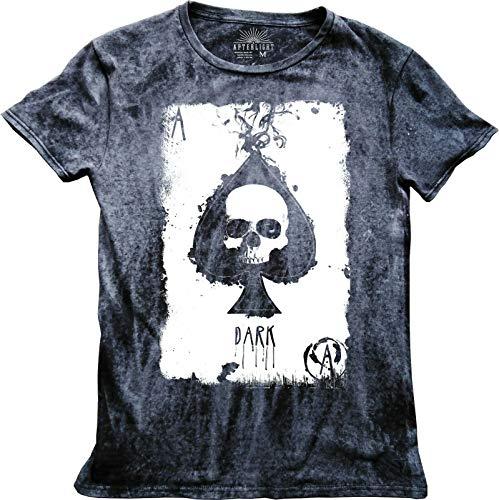 Ace of Spades Skull T-Shirt Rock Gothic Säure-Wash Mineral-Stein Distressed Biker Gr. XL, Mineral Black -