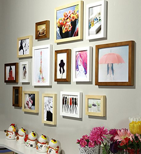 Art street - Colorful Memories set of 15 individual photo frame - Mix color (3pc-8x10,8pc-6x8, 4pc-4x6 inch)