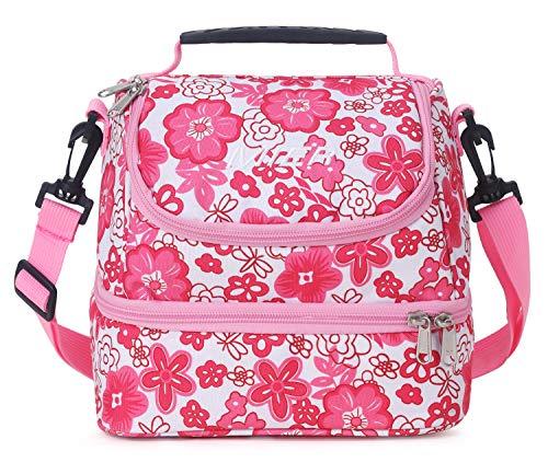 MIER fresca rosa bolsa de dos compartimentos almuerzo kit reutilizable almuerzo asas aisladas caja de almuerzo para los niños, chica, mujeres (azul)