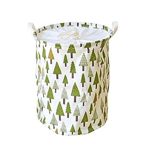 Owfeel pliable Panier à linge rond de stockage de tissu en coton et lin Motif d'arbre de Noël