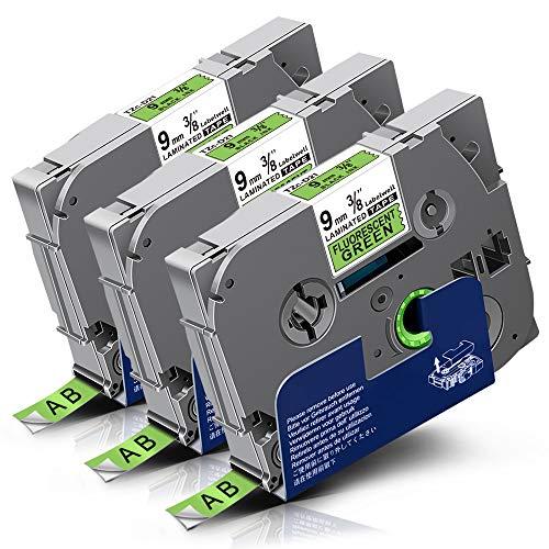 Labelwell P-Touch Tapes TZe-D21 9mm x 5m Black on Fluorescent Green, Compatible for Brother TZeD21 TZ-D21 Laminated Label Cassette for Brother PT-1000 PT-H110 PT-H101C PT-H105 PT-2030VP PT-P750W