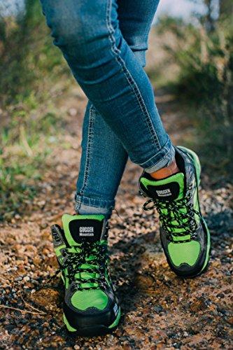 GUGGEN MOUNTAIN Scarpe da escursionismo Scarpe da trekking Scarpe da montagna Mountain Shoe donna M011 Verde