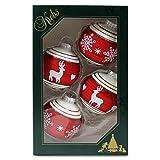 4er Set Weihnachtskugeln Christbaumkugeln Kugeln mattweiß/rot mit Rentieren und Schneekristall, mundgeblasener Baumschmuck aus Glas Ø ca. 7 cm