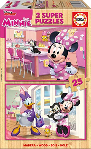 Educa Borrás- Mickey and The Roadster Racers Puzzle 2x25 Minnie Happy Helpers, Multicolor (17625)