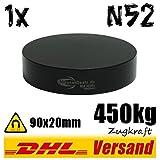 Starker großer Neodym Magnet Dauermagnet Scheibenmagnet 90x20mm 450kg Epoxy schwarz