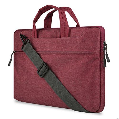"GADIEMENSS Water-resistant Laptop Shoulder Briefcase Bag Portable Computer case handbag For Apple Macbook 12"" Air 11.6"" Dark Red"