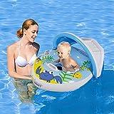 Hanmun Piccola Piscina Nuoto Ring - Carro 2018 Gonfiabile Bambino Aiuto Posto Barca Con Sole Baldacchino Per 1 - 3 Anni (Blu)