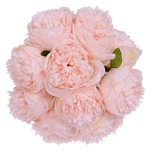 Lvydec Künstliche Blumen Pfingstrose Vintage - 2 Stück Seidenblumen Blumenstrauß 10 Köpfe Pfingstrose Fake Blumen für Hochzeit Zuhause Dekoration Rose - Kopf-tisch-mittelstücke
