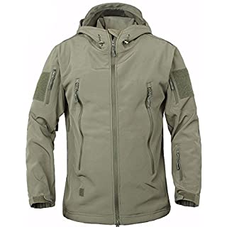 TACVASEN Waterproof Jacket Men Softshell Fleece Jacket Outdoor Camping Hiking Coat Army Green