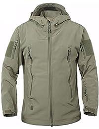 TACVASEN Military Waterproof Men's Softshell Jacket Fleece Lining Camouflage Outdoor Coat