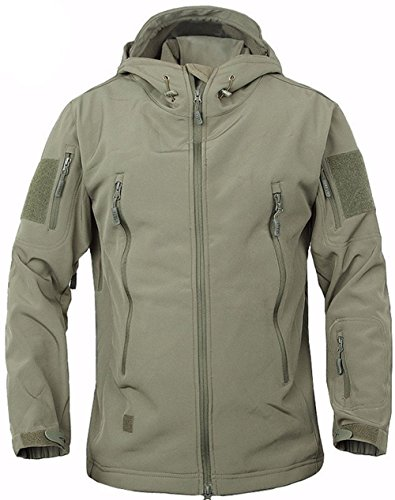 TACVASEN Waterproof Jacket Men Softshell Fleece Jacket Outdoor Camping Hiking Coat Army Green