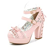 Japanese Style Sweet Bow Lace Princess Lolita Shoes Lace-up High Heel Buckle Strap Thick Platform Pumps (8.5, Pink)
