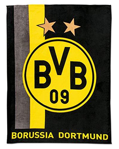 Borussia Dortmund BVB Fleecedecke mit Streifenmuster, Polyester, Schwarz/Gelb, 200 x 150 x 1 cm