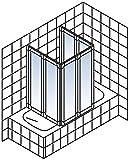 Schulte Duschabtrennung München, 140 cm hoch, 2x3-teilig faltbar, Kunstglas Tropfen-Dekor, alu-natur, geschlossene Duschkabine für Badewanne Test