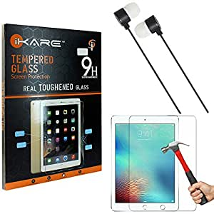 iKare Tempered Glass for Apple iPad Pro 9.7, Tempered Screen Protector for Apple iPad Pro 2 9.7 + Black Stereo Earphone with Mic
