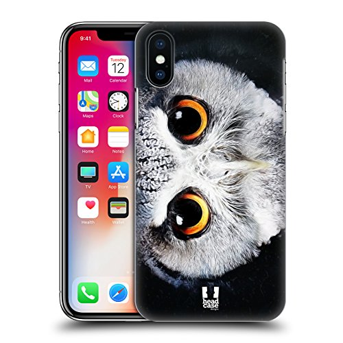 Head Case Designs Tigre Volti Di Animali Cover Retro Rigida per Apple iPhone X Gufo Con La Faccia Bianca