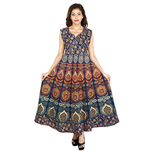 The Jaipur Bazar presents designer Cotton Women\'s Maxi Long Dress jaipuri printed (free size UPTO 44-XXL)