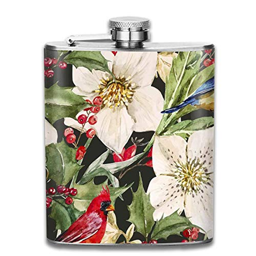 Presock Flachmann,Holly and Hellebores 7 Oz Printed Stainless Steel Hip Flask for Drinking Liquor E.g. Whiskey, Rum, Scotch, Vodka Rust Great Gift