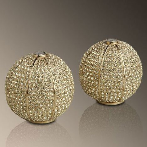 L'objet Gold Plated Pave Sphere Salt and Pepper Shaker with Yellow Crystals by L'Objet - Crystal Salt Shaker