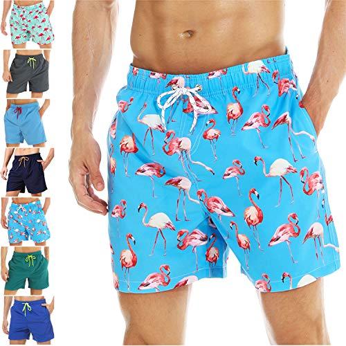 coskefy Badeshorts für männer Jungen Badehose Schwimmhose Schnelltrocknend Kurz Beachshorts Boardshorts Strand Shorts Sporthose mit Mesh-Futter Tunnelzug (Blau-Flamingo,L(EU)-MarkeGröße XXL)