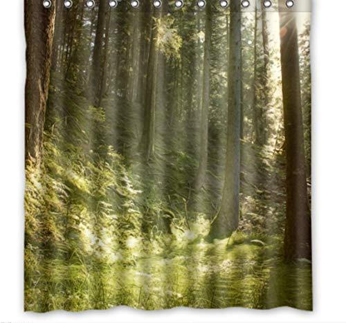 JKdianpu886 Duschvorhang(Anpassbare Frühling Grün Holz Benutzerdefinierte Vorhangstoff Bad Bad Wasserdicht Duschvorhang180X200Cm