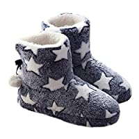 Meliya Women Girls Fluffy Star Print Fleece Ankle Boots Bootie Winter Warm Faux Fur Lined Non Skid House Indoor Pom Pom Slippers