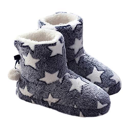 Milya Kuschelige Damen Hüttenschuhe Hausstiefel Plüsch Gefüttert Pantoffeln mit Bommel Sternen Muster 36-37