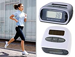 Solar Power Calorie Consumption Run Step Pedometer Distance Counter with LCD Screen-White