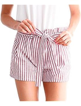 Pantalones Raya Cortos Mujer DOGZI Cortos Sueltos del Bolsillo De La Raya De Las Mujeres Pantalones Cortos Cortos...